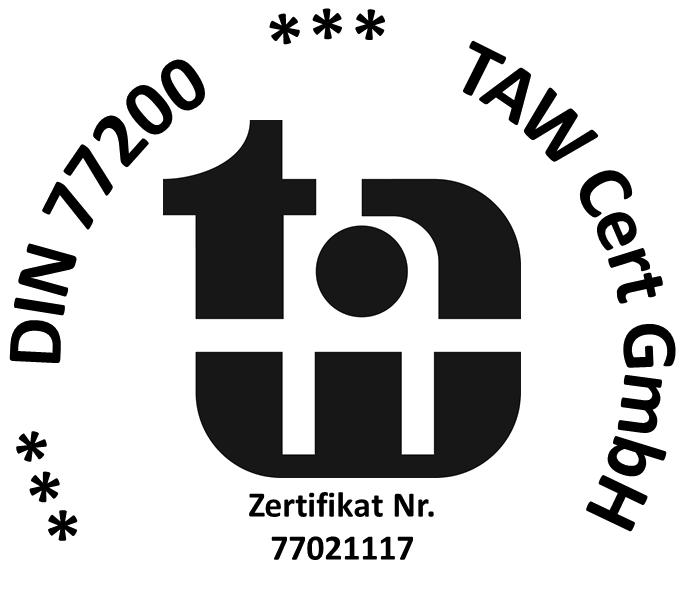Objektschutz: Zertifikats-Logo de DIN 77200 Sicherheitsdienstleistungen